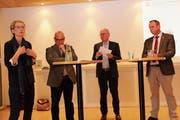 Das Podium zu Extremismus und Radikalisierung: Esther Luder Müller, Rolf Züllig, Fredy Fässler, Bruno Zanga (von links). (Bild: Cecilia Hess-Lombriser)