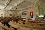Der Saal im Hotel Sonnenberg in Seelisberg, wo in der kommenden Woche die indischen Konzerte stattfinden, war vor 150 Jahren einer der grössten säulenlosen Hotelsäle in ganz Europa. (Bild: Christoph Näpflin, 28. September 2012)