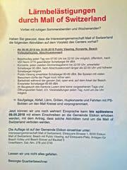 Diesen Flyer fanden Anwohner der Mall of Switzerland in ihrem Briefkasten vor.