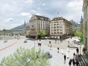 So könnte ein Car-freier Schwanenplatz dereinst aussehen. Visualisierung: Stadt Luzern