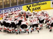 Die Schweizer Mannschaft - im Bild vor dem Viertelfinal gegen Finnland (Bild: KEYSTONE/SALVATORE DI NOLFI)
