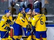 Die Schweden bejubeln einen ihrer Treffer gegen die USA (Bild: KEYSTONE/EPA SCANPIX DENMARK/LISELOTTE SABROE)