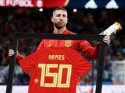 Auch nach über 150 Länderspielen noch Lust auf das Nationalteam: Spaniens Sergio Ramos (Bild: KEYSTONE/EPA EFE/MARISCAL)