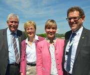 Alt-Nationalrat Hansjörg Walter mit den beiden aktuellen Nationalrätinnen Verena Herzog und Diana Gutjahr sowie Regierungsrat Jakob Stark (alle SVP).