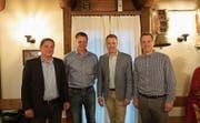 Die Kandidaten (v. l.): Peter Rust, Matthias Hürlimann, Stefan Hermann, Pascal Aeschlimann. (Bild: Raphael Biermayr (Walchwil, 22. Mai 2018))