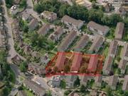 Die rot markierten Häuser im Gebiet Weinbergli werden ersetzt, links unten auf dem Bild ist die St. Michael zu erkennen. (Bild: pd/SBL)