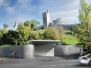 So könnte die Einfahrt zum Musegg-Parking in der Nähe der Geissmattbrücke dereinst aussehen. (Visualisierung: PD)