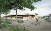 Visualisierung des Projektes: Kindergarten und Turnhalle sind künftig in einem Gebäude vereint. (Bild: PD/Rohrbach Wehrli Pellegrino Architekturagentur)
