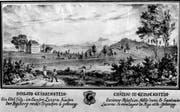 Kupferstich um 1790: Idyllische Landschaft mit dem Freihof Geissenstein (links), hinten die Rigi. Perspektive und Dimensionen sind nicht ganz realitätsgetreu (der Freihof hat in Wirklichkeit nur drei Geschosse). (Bild: PD)