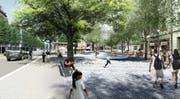 So könnte der Bundesplatz gemäss der Vision des Stadtrats einst aussehen. Visualisierung: Stadt Luzern