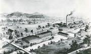 Illustration des Fabrikgeländes von 1896. (Bilder: CPH)