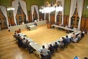 Das Gemeindeparlament tagt im Rathaussaal in Weinfelden (Bild: Mario Testa)