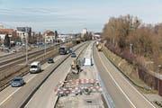 Die Baustelle auf der A1/A13 bei Rheineck, aufgenommen von der Zollbrücke nach Gaissau. (Bild: Astra)
