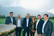Der Vorstand Golf Gams-Werdenberg AG und Golfclub Gams mit Josef Lenherr, Alex Hermann, Präsident Antoine Lemaire und den neu gewählten Gabriella Reato, René Derungs und Christian Eggenberger (von links). (Bild: Adi Lippuner)