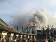 Das Feuer im Europapark konnte am Abend unter Kontrolle gebracht werden. (Bild: KEYSTONE/dpa/JOOST DERIJCK)