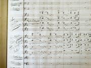 Partitur von Richard Wagners romantischer Oper Lohengrin aus dem Jahr 1853. (Bild: KEYSTONE/CHRISTIAN BEUTLER)