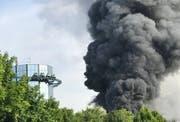 Während es bei der Attraktion «Die Piraten von Batavia» brennt, fahren vorerst andere Parkbesucher weiterhin mit der Achterbahn. Bild: Screenshot Twitter.com