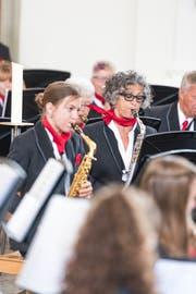 Zwei Musikanten der Feldmusikg Weggis. (Bild: Roger Grütter, 27. Mai 2018)