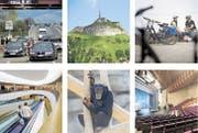 Über die Grenze zur Arbeit fahren, vom Hohen Kasten ins Ländle blicken, mit dem Velo nach Rorschach fahren, das Theater St.Gallen und den Walter Zoo besuchen und zum Einkaufen in den Rheinpark – darum kommen Vorarlberger in die Ostschweiz (im Uhrzeigersinn). (Bild: SGT)
