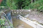 Der Einlauf des Entlastungsstollens beim Würzenbach (links im Bild) war beim Hochwasser 2015 verstopft. (Bild: Beatrice Vogel (Luzern, 17. Juni 2015))