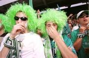 Tränen der Enttäuschung: St.Galler Anhänger nach dem verlorenen Cupfinal. (Ralph Ribi)