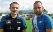 Beim Drittliga-Spitzenclub FC Rüthi ist Anto Tomas (links) nicht zum ersten Mal Trainer von seinem Sohn Matej. (Bild: Beni Bruggmann)