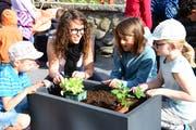 Lehrerin Fabienne Haller bepflanzt mit Schülern einen Trog. (Bild: Werner Lenzin)