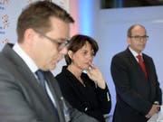 Bundesrätin Doris Leuthard brachte gute Nachrichten nach St. Gallen: Sie will beim Bahnausbau einen Teil der Forderungen aus der Ostschweiz erfüllen. (Bild: KEYSTONE/GIAN EHRENZELLER)