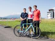 Die drei Schweizer Hoffnungsträger an der Tour de Suisse: Mathias Frank, Silvan Dillier und Stefan Kueng (von links) (Bild: KEYSTONE/URS FLUEELER)