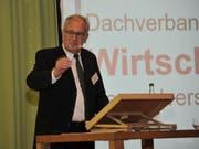 René Röthlisberger an der diesjährigen GV der Wirtschaft Uri in Altdorf. (Bild: Urs Hanhart, 19. April 2018)