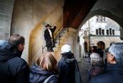 Seit Ende April gibt es die Stadtführung beim Zytturm mit dem Zytturmwächter. (Bild: Stefan Kaiser (Zug, 3. März 2018))