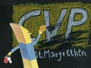 Die CVP hat sich in St.Margrethen gleich selbst weggeputzt. Illustration: Patrick Steiger