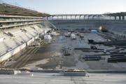 So sah die Stadion-Baustelle im Januar 2008, wenige Monate vor der Einweihung der damaligen AFG Arena, aus. (Ralph Ribi)