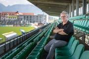 Hubert Nagel auf der Haupttribüne des «Planet Pure Stadion». (Bild: Michel Canonica)
