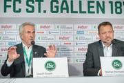 Vergangenheit beim FC St.Gallen: Die beiden Ex-Präsidenten Dölf Früh (links) und Stefan Hernandez. (Ralph Ribi)
