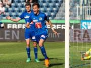 Pascal Schürpf und Shkelqim Demhasaj schossen die Luzerner Tore beim Heimsieg gegen Lugano (Bild: KEYSTONE/ALEXANDRA WEY)