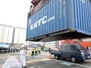Südkorea bereitet sich bereits auf eine befürchtete Invasion der Roten Feuerameise vor. An einer Übung werden Container desinfiziert, um die Einschleppung des Insekts zu verhindern. (Bild: KEYSTONE/EPA YNA/YONHAP)