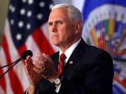 US-Vizepräsident Mike Pence bei seiner Rede an der Versammlung der Organisation Amerikanischer Staaten am Montag in Washington. (Bild: KEYSTONE/AP/JACQUELYN MARTIN)