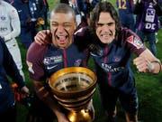Kylian Mbappé und Edinson Cavani von Paris Saint-Germain können sich über den nächsten Titel freuen (Bild: KEYSTONE/AP/THIBAULT CAMUS)