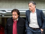 Durchatmen bei Sion-Präsident Christian Constantin und Coach Maurizio Jacobacci (Bild: KEYSTONE/ALEXANDRA WEY)