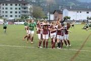 Freude bei den siegreichen Frauen vom 2.-Liga-Team Team Amt Entlebuch. (Bild: Michael Wyss (Brunnen, 31. Mai 2018))