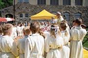 Pfarrer Wendelin Bucheli hielt an Fronleichnam die Heilige Messe. (Bild: Otto Epp (Bürglen, 31. Mai 2018))