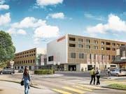 Visualisierung des Neubaus der Migros Herisau von der Kasernenstrasse aus gesehen. (Bild: PD)