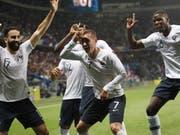 Gute Stimmung bei Frankreichs Nationalspielern während dem Test-Länderspiel gegen Italien (Bild: KEYSTONE/AP/CLAUDE PARIS)