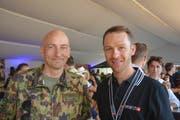 Waffenplatzkommandant und ehemaliger Mountainbike-Weltmeister: Felix Keller und Ralph Näf.
