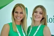 Zwei Ex-Missen und nun Tour-de-Suisse-Ehrendamen: Linda Fäh mit Dominique Rinderknecht.