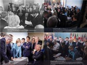 Schlüsselmoment am G7-Gipfel in Kanada: Die vier Bilder erzählen aber je nach Perspektive eine andere Geschichte. (Bild: ATS)