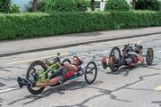 Hans Frei ist unterwegs zu seinem ersten Heimerfolg mit dem Handbike. (Bild: Pius Amrein (Schenkon, 10. Juni 2018))