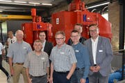 Von links: Martin Schwab, Rolf Infanger, Werner Jauch, Walo Andrew, Isidor Baumann, Urs Meyer und Landammann Roger Nager. (Bild: Georg Epp (Gurtnellen, 9. Juni 2018))