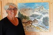 Künstlerin Heidi Wunderlin vor einem ihrer Werke. (Bild: Franz Imholz)